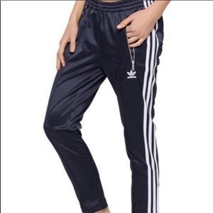 Adidas cigarette pants navy silky XS